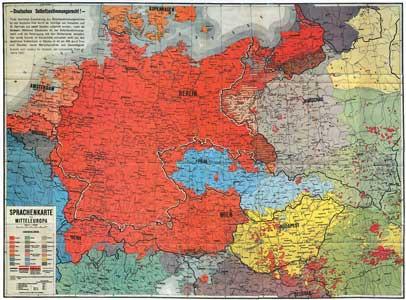 Sprachenkarte von Mitteleuropa - Deutsche Siedlungsgebiete